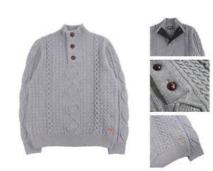 Men's BARBOUR Grey 100% Wool Cable Knit Button Neck Sweater Size XL