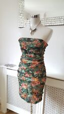 BERSHKA Green Mix Tropical Floral Bodycon Ruched Stretchy Ladies dress Size 10 L