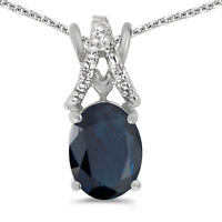"14k White Gold Oval Sapphire And Diamond Pendant with 18"" Chain"