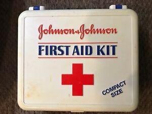 Vintage Johnson & Johnson First Aid Kit White Blue Plastic Box - Compact Size