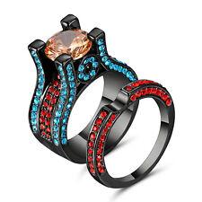 Size 9 Champagne Topaz CZ Wedding Ring Women's 10KT Black Gold Filled Jewelry