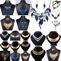 Fashion Women Crystal Pendant Jewelry Chain Bib Chunky Statement Choker Necklace