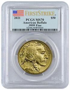 2021 1 oz Gold Buffalo $50 Coin PCGS MS70 FS Flag Label PRESALE