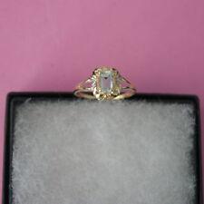 Aquamarine Natural Emerald Yellow Gold Fine Rings