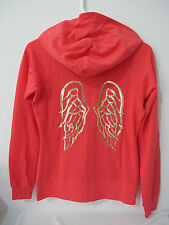 NWT Victoria's Secret Coral/Gold Sequin Angel Wing Full Zip Hoodie XS FREE SHIP