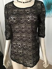 RED HERRING DEBENHAMS SIZE 8 FINE BLACK LACE SUMMER /PARTY TOP PERFECT CONDITION