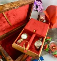 Decorative velvet lined Jewelry vintage style Thuya wooden case, handmade box