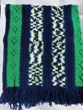 "Vintage Handmade Crochet Afghan Yarn Throw Blanket Multicolor Blue Green 56x48"""