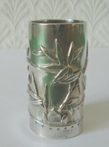 ANTIQUE CHINESE EXPORT SILVER TOOTHPICK HOLDER QUALITY CUMWO SILVER circa 1890