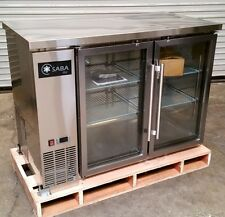 "New 48"" 2 Door Glass Back Bar Cooler Saba Sbb-24-48Gss #4466 Stainless Steel Nsf"