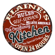 Cwkr-0127 Elaine'S Kitchen Funny Rules Tin Sign Mother's day Gift For Woman