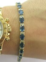 "Naturel Ceylan Saphir et Diamant or Jaune Tennis Bracelet 6.75 "" 19.20Ct 14Kt"