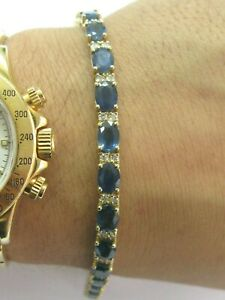 "Natural Ceylon Sapphire & Diamond Yellow Gold Tennis Bracelet 6.75"" 19.20Ct 14Kt"
