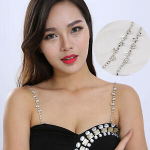Bra Shoulder Strap Replacement Decor Chain Metal Rhinestone Shiny Summer Party