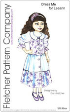 "Button Up Dress Doll Clothes Sewing Pattern 11"" Leeann Fletcher Pattern Company"