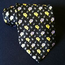 Leonard Neck Tie 100% SILK Black Blue & Yellow Flower / Paisley Pattern ITALY