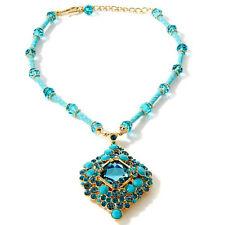 "NIB Huge AKKAD ""Exquisite Affair"" Turquoise Enamel & Crystal 17"" Drop Necklace"