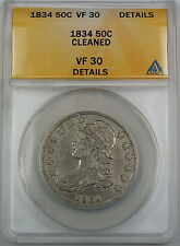 1834 Bust Silver Half Dollar, ANACS VF-30 Details, Cleaned Coin