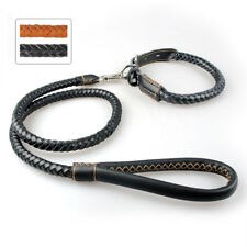 Braided Leather Dog Collar and Leash Adjustable Rollled for Medium Large Dogs