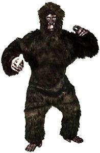 Gorilla Costume Adult 6Pc Black Faux Fur Suit W/ Latex Mask Hands & Feet M/L