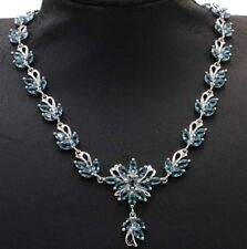 Elegant London Blue Topaz Woman's Engagement Silver Necklace 17.5-18.5 inch