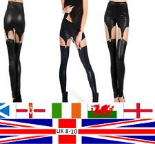 Wet Look Suspender Garter Buckle Leggings Burlesque Gothic Punk Rock Adult Teen