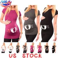 Pregnant Womens Maternity Tee T-shirt Short Sleeve Tops Mom Pregnancy Blouse NEW