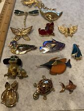 LOT OF 14 GOLD TONE 'ANIMAL' BROOCHES, VINTAGE-NOW
