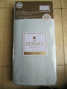 Dorma 350 T/C Cotton Satin King Fitted Sheet 153x200x35cm, Duck Egg Blue