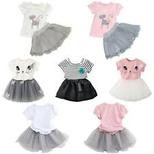 2PCS Toddler Baby Girls T-shirt Tops+Tutu Dress Floral Outfits Party Clothes Set