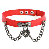 Punk Goth Harajuku Charm O-Ring Collar Choker Belt Necklace PU Leather Neck Ring