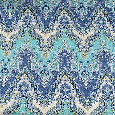 """3 yrds Waverly Blue Turquoise Palace Sari Prussian Cotton Print Fabric 57"""" Wide"""