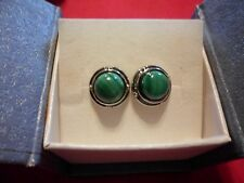 African Malachite Round Stud Earrings in Stainless Steel-4.50 Carats