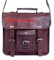 S-XXL Vintage Genuine Goat Leather Brown Messenger Satchel Briefcase Laptop Bag