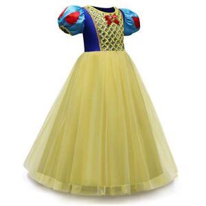 Girls Snow White Princess Costume Long Fancy Party Dress Cosplay K105