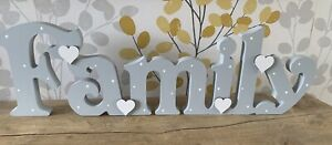 Freestanding Wooden Family Plaque Sign Hand Painted Family Letters Birthday 12cm