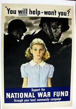 Authentic WWII Poster Mounted on Canvas Support the National War Fund Douglas