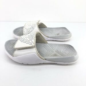 B54) Nike Air Jordan Hydro Kids Size 5Y  White Gray Slide Sandals