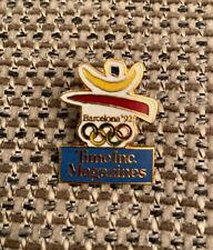 Rare Vintage Barcelona 1992 Olympics Enamel Lapel Badge Time Inc Magazines