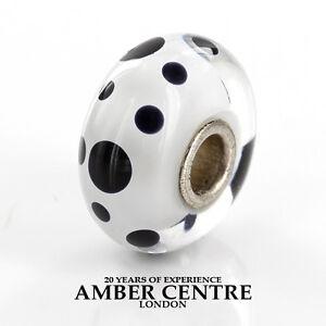 GeniuneTrollbeads Handmade Murano Glass Charm Black Spots 61400 RRP£30!!!