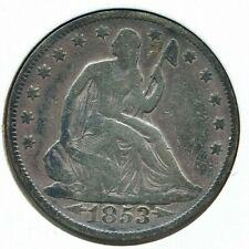1853 50C VG Toning Liberty Seated Half Dollar .90 Silver .10 Copper Arrows Rays