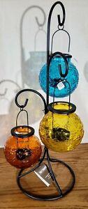 NWT Pier 1 Glass Hanging Triple Tealight Lanterns W/Metal Stand