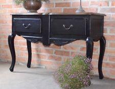 Table Console Avec Tiroir Noir Noire Bois Style Vintage Ancien Design Salon Deco