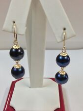 Freshwater Peacock Pearl Dangle Earrings in Solid 14kt Yellow Gold