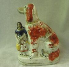 """Staffordshire reproduction King Charles Spaniel Dog and Lady Figurine 7.5"""" tall"""