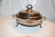 Vintage Silverplate Footed Covered Round Casserole Dish
