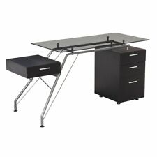 Candace & Basil Office Desk with 4 Storage Drawers, Black