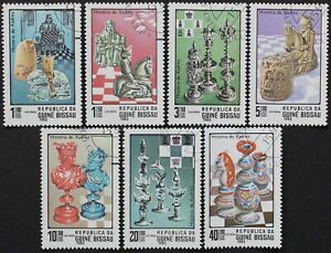 """Guinea-Bissau: Michel-Nr. 674-680 """"Geschichte des Schachs"""" aus 1983, gestempelt"""