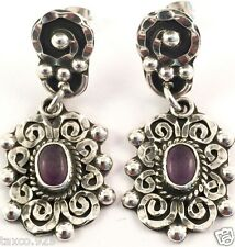 VINTAGE DESIGN TAXCO MEXICAN STERLING SILVER AMETHYST BEADED EARRINGS MEXICO