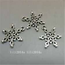20pc Tibetan Silver Charms Christmas Snowflake Pendant Beads Accessories PL926